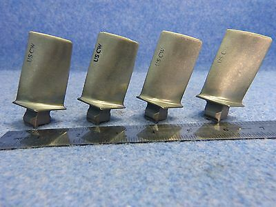 Lot of 4 Scrap Titanium Turbine Engine Blades only for collectors/art