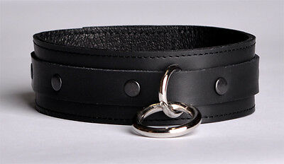 Black Deluxe Tinted Edt Hand Crafted Leather Collar Top quality col6blkbk