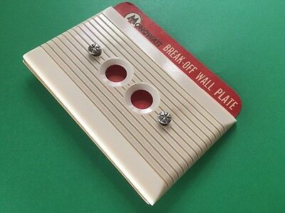 Ribbed Ivory Art Deco Ribbed 2 Push Button Wall Plate Cover NEW OLD STOCK