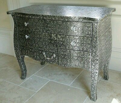French Style Black Silver Embossed Metal 3 Drawer Chest Of Drawers Vintage Chest