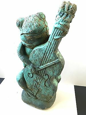 Vintage  Frog / Toad Playing Cello Vintage Cement / Concrete Garden Statue