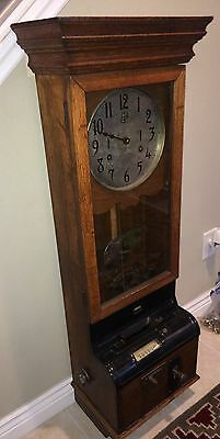 "Antique Large 47"" Tall 1920's ITCR Time Recorder Punch Clock Regulator Awesome!"
