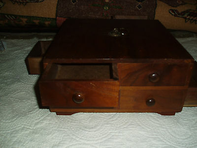 Old Beautiful Handmade Wood Wooden Box Heavy 4 Drawers B