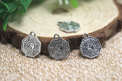 30pcs Amulet Charms Silver Tai Chi Ba Gua Feng Shui Coins pendants 16x13mm