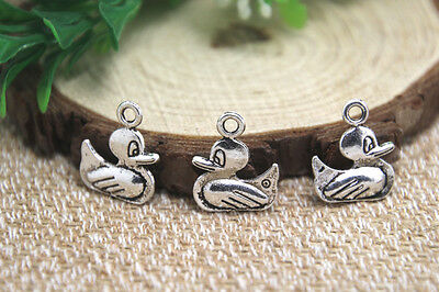 20pcs duck Charms Antiqued Silver Tone 2 sided duck charm pendants 15x18mm