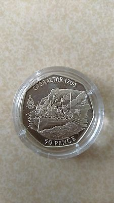 History of the royal marines Gibraltar 50p 2004-Capture of Gibraltar SILVERPROOF