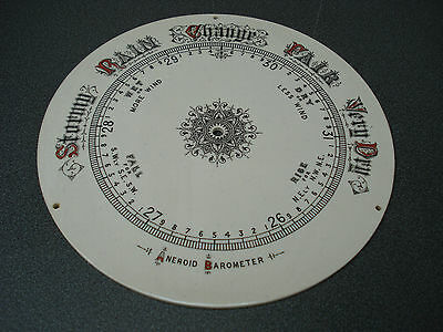"8"" Dia Cream Red & Black Aneroid Barometer Porcelain Ceramic Dial Parts Spares"