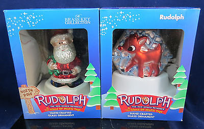 Rudolph The Red-Nosed Reindeer Rudolph & Santa Brass Key Glass Ornament 2001