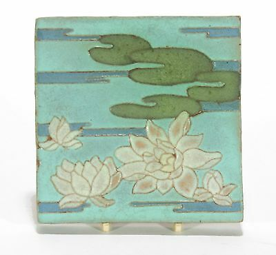 Rare Van Briggle Pottery waterlily tile 4 color matte blue green arts & crafts