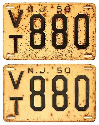 New Jersey 1950 License Plate Pair, VT 880, Morris County