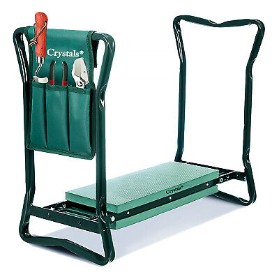 Portable Folding Garden Kneeler Knee Pad Foam Padded Seat Stool And Tool Bag