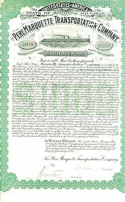 1897 The Pere Marquette Transportation Company $1000 Mortgage Bond Certificate
