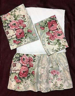 WESTPOINT Stevens Queen Bedskirt Shams Roses Floral Romantic Cottage Chic