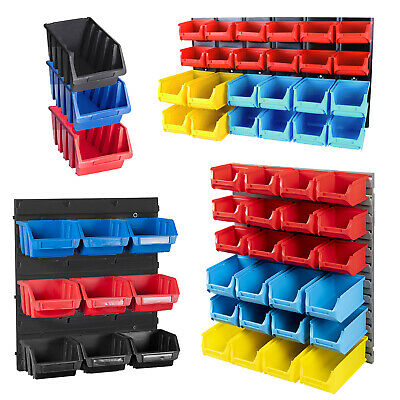 Tool Organiser Bin Plastic Kit Storage Wall Unit Parts Bins Shelving Garage Diy
