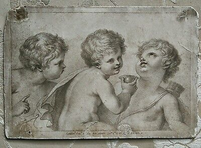 BARTOLOZZI Original Antique Georgian Etching Engraving Print Three Cherubs Putti