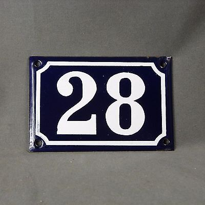 "French Vintage Sign House Number ""28"" Door Gate Blue & White Porcelain Enamel"