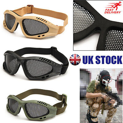 Top Quality Tactical Airsoft Goggles Eye Protection No Fog Metal Mesh Glasses UK