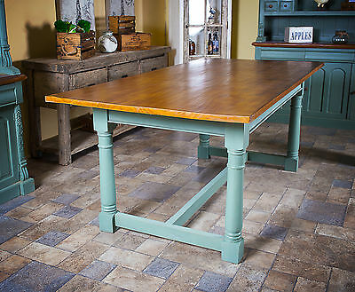 Large Rectangular Dining Table Farmhouse Victorian Oak Top Seat 6 or 8 People