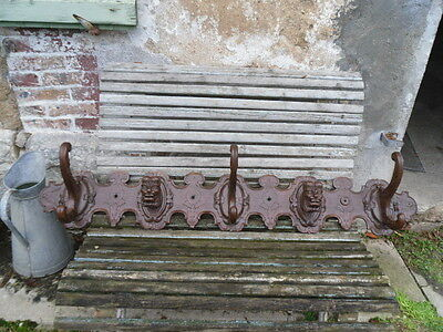 antique french :Important wooden coat racks 19th popular folk head carved figure
