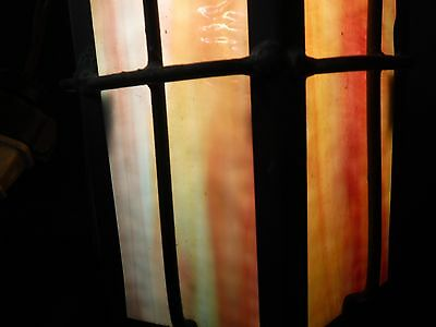 Antique Arts & Crafts COPPER & STAINED GLASS PORCH SCONCE Mission Cottage