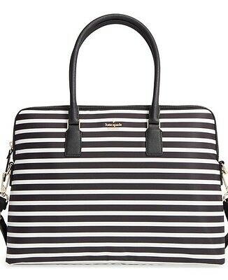 Kate Spade New York Daveney Classic Nylon Laptop Case Bag Black Stripe NWT $248
