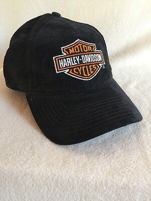 Harley-Davidson Motor Cycles Black Suede Baseball Hat Cap Adjustable
