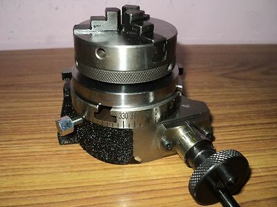 """Horizontal Vertical 3""""/75mm Rotary Table & 65mm 3 Jaw Chuck for Milling Machine"""
