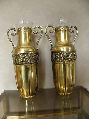 antique art deco french pair vase Royal Palace Copper  brass glass Bottle Pot