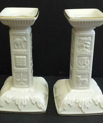 "Lenox Sabbath Candlestick Holders 2 Piece Judaic Collection Sculpted 7.5"" H"