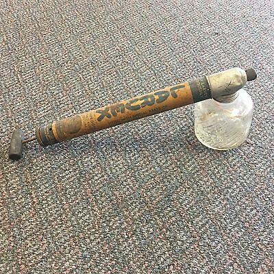 Vintage LARVEX Wood  Handle Hand Pump Fly Bug Insect Sprayer GlassTank