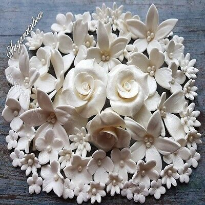 139 Edible Sugar Flowers Roses White Wedding Cake Cupcake Toppers Decorations