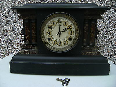 Antique American Black  Mantle Chiming Clock