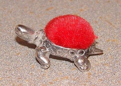English Sterling Silver Turtle Small Pin Cushion