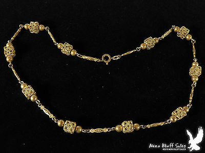 UNUSUAL Germany Gold Tone Metal Bead Necklace NICE VINTAGE PIECE!