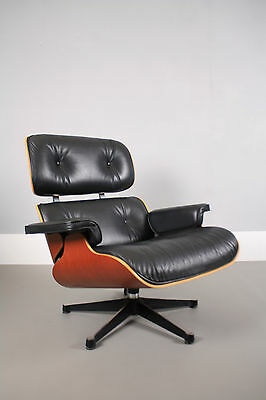 Vitra Charles & Ray Eames 670 lounge chair - Black leather & Cherry