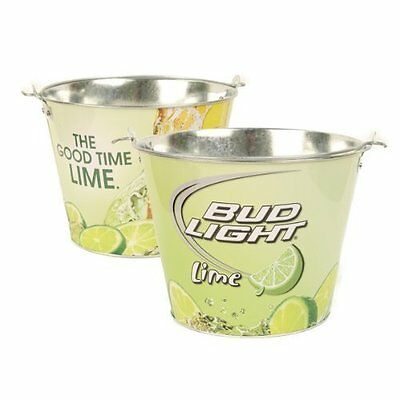 Bud Light Bucket Ice Beer Painted Home Bars Aluminum Pail Lime