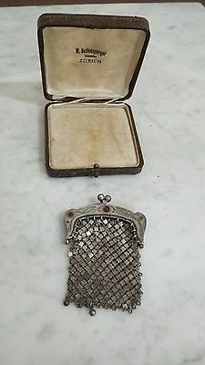 Silver Coin Purse 800 Good Condition With Glass Inlay OLD SEALED PURSE