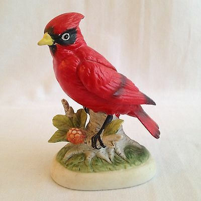 Vintage Hand painted Red Cardinal Bird Figurine Japan Branch Statue Ceramic