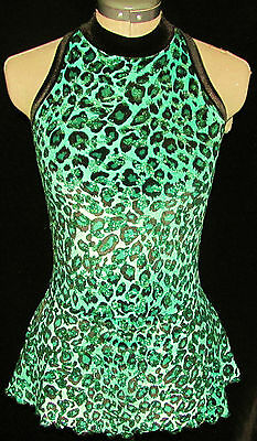 GREEN BLACK LEOPARD  Ice Figure Skating Competition Dress GIRLS MED 8 / 9 / 10