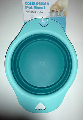NEW Travel Collapsible Pet Bowl Dog  Puppy Cat Food Drinking Water Bowl Blue