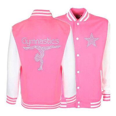 Diamante Rhinestone Bling Gymnastics Gymnast Varsity Jacket 16 Colours 3/13yrs