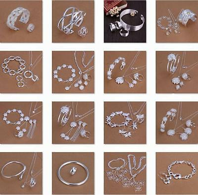 Men Women 925 STERLING SILVER Jewelry Set Dragonfly Roses Bracelet Ring Necklace