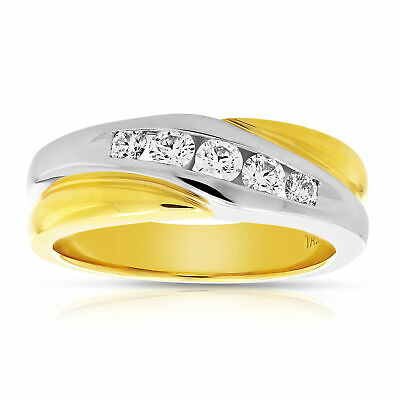 Men's 0.50 CT SI1 Platinum and 18K Gold Diamond Wedding Band in Size 10