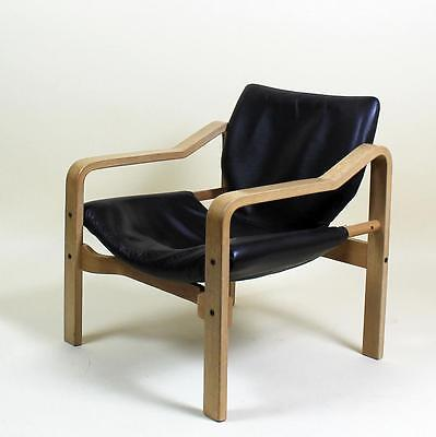 1 of 4 STUNNING VINTAGE RETRO 1970' SCANDINAVIAN DESIGN  LEATHER  LOUNGE CHAIRS