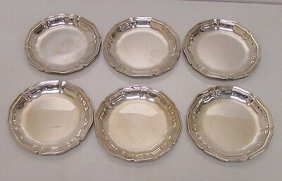 "Antique WMF German Silver .835 fine Set of 6 - 3"" Rosetta Demitasse Plates"