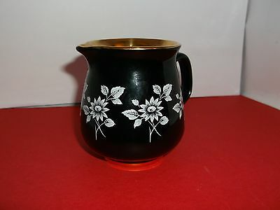 Spectacular Prinknash Pottery 8 cm Creamer Black, White and Gold