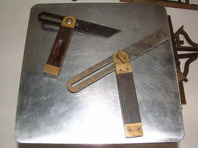 2 Vintage  Wooden Handle Angle Squares Stanley