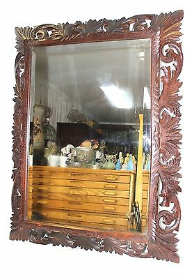 Antique French Carved Oak Large Rectangular Beveled Wall Mirror Framed