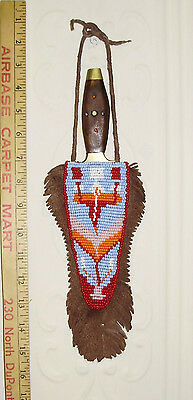 VINTAGE Native American Plains Indian  Beaded Sheath  & Hand Carved Knife ------