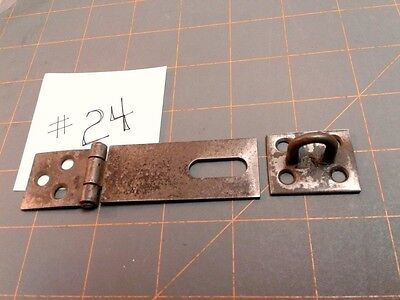Vintage Hinged Steel Hasp Latch Lock w Keeper Circa 1940
